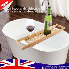 wooden bamboo bath caddy tray bathtub rack shelf storage wine glass holder for
