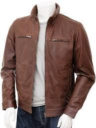 mens brown leather biker jacket groningen front