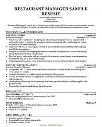 Special Restaurant Manager Resume Examples Restaurant Assistant
