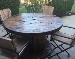 Distressed Wire Spool Patio Table