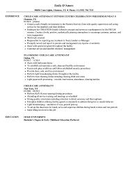 Child Care Resume Child Care Attendant Resume Samples Velvet Jobs 77