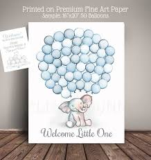 Guest Sign Book Watercolor Elephant Baby Shower Guest Book Alternative Guests Sign