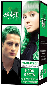 Splat Hair Dye Color Chart Splat Kit Neon Green Vert 3 Ounce With Splat Oxide Mixing Container