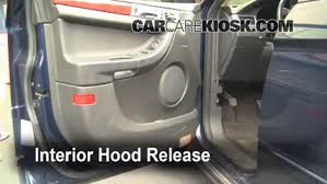 replace a fuse 2004 2008 chrysler pacifica 2004 chrysler pacifica 2004 chrysler pacifica fuse box removal 2 open the hood how to pop the hood and prop it open