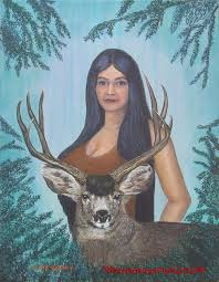 native american painting of indian spirit woman and deer at where art meets the heart