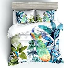 peacock bedding fashion colorful peacock bedding sets plant leaves twin full queen king size duvet cover peacock bedding