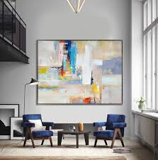 handmade extra large contemporary painting huge abstract canvas art original artwork yellow