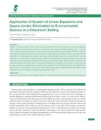 of system of linear equations and gauss jordan elimination to environmental science pdf available