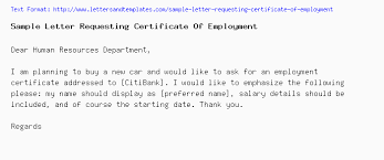 Format Of Employer Certificate Sample Letter Requesting Certificate Of Employment