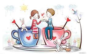 cute couple love cup cartoon wallpaper gzava net