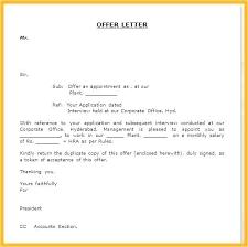 Formal Job Offer Template Offer Letter Template Doc Employment Copy Resignation Sample