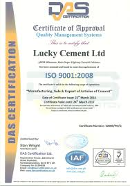 Certifications Lucky Cement