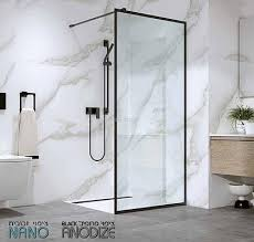 מקלחון דופן קבועה שחורה דגם אלורה מידה 90.5-92.5 סמ - מקלחונים בגוון שחור