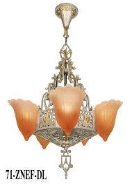 art deco slip shade lincoln 2 tone 5 light chandelier