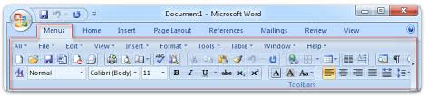 microsoft word menus about office 2007 menu and toolbar