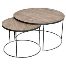 intriguing round nesting wood top coffee table design with metal base