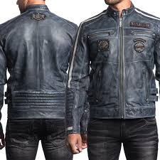 affliction american customs velocity patches modern moto biker motorcycle mens long sleeve snap collar genuine leather