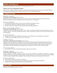 Fast Food Management Resume Resume Sample