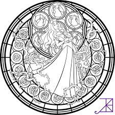 Stained Glass Coloring Pages Disney Sleeping Beauty Coloringstar