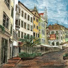 italian street scene italy painting italian village 1 by debbie dewitt