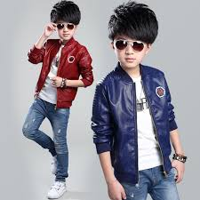 baby boys leather jacket spring and autumn 2017 teenage kids jackets black and red wine color
