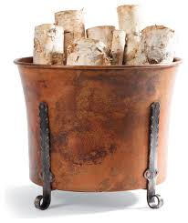 copper log holder traditional fireplace accessories by frontgate