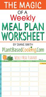 Weekly Meal Plan Worksheet Weekly Meal Planner Diary Plant Based Cooking