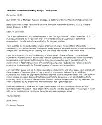 Best Investment Banking Cover Letter Investment Banking Analyst