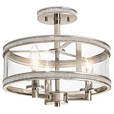 kichler angelica 13 in w polished nickel clear glass semi flush mount light