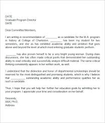 Writing A Letter Of Recommendation For Graduate School For Template