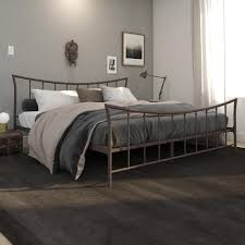 Details about Brushed Bronze Sturdy Metal King Size Bed Frame Curved Headboard And Footboard