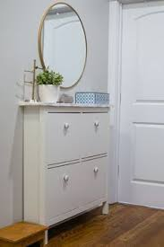 Hemnes Coat Rack HEMNES shoe cabinet from IKEA with mirror over it Place on Post 70