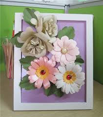 Daisy Paper Flower Beautiful 3d Daisy Paper Flower In Wood Photo Frame Table Centerpiece Buy 3d Paper Flower Table Centerpiece Paper Flower In Wood Photo
