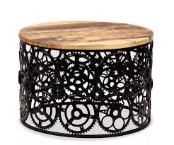 vintage industrial coffee table rustic metal furniture round room retro side for
