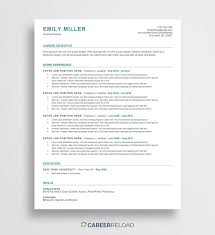 Free Ats Resume Template Emily Career Reload