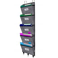 Over The Door File Organizer Hanging Wall Mounted Storage Holder Pocket Chart For Magazine Notebooks Planners Mails 5 Extra Large Pockets Black With