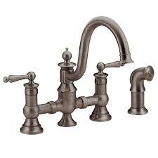 moen waterhill 2 handle high arc side sprayer bridge kitchen faucet in oil