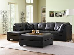 darie contemporary style black bonded leather sofa sectional w cocktail ottoman
