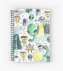 Horrorterroraliencutecoolspacetumblrfoodfunnyufolovealienstrendyquotesgreenpizza Spiral Notebook By Mantrapop
