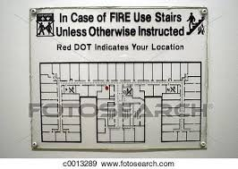 Chart Fire Hotel Indoors Information Instructions Stock
