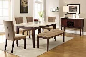 here s a 6 piece rubberwood dining set with faux marble table top with tan upholstery for