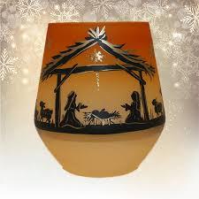 Windlichtbecher Mit Krippen Motiv Orange