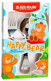 Купить Attribute Набор детских <b>столовых приборов Happy</b> bear 3 ...