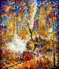 last train original oil painting on canvas by leonid afremov size 48 x52 120cm x 130cm