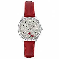 maroon tone smooth leather strap round shaped sparkling stone case wildflower printed dial leather stainless steel authentic