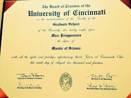 university of cincinnati master of science degree diploma marc pongpamorn s master of science diploma from the university of cincinnati
