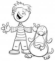 黒と白の漫画イラストがおもしろい犬や子犬のぬりえの本 ベクター画像