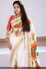 hand painted sarees in kerala