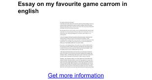 essay on my favourite game carrom in english google docs