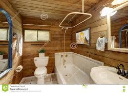 Cabin Bathroom Bathroom Interior In A Luxurious Log Cabin Stock Photo Image